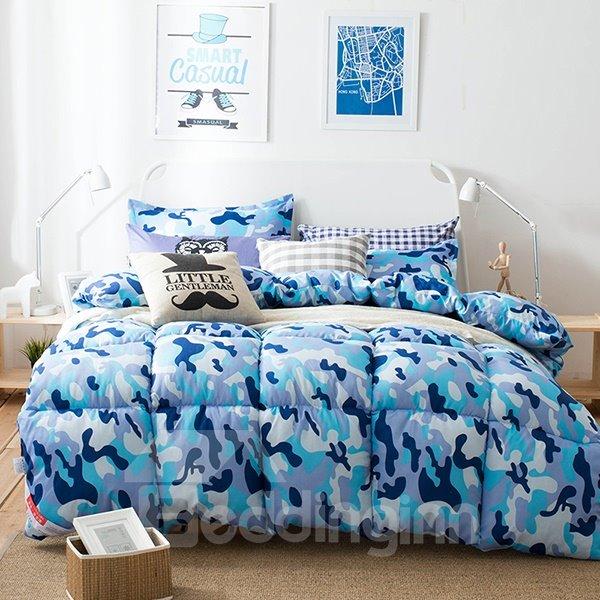 Chic Blue Camouflage Design Super Warm Polyester Quilt