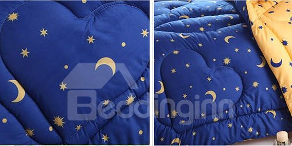 Creative Stars Crescent Print Fluffy Polyester Quilt