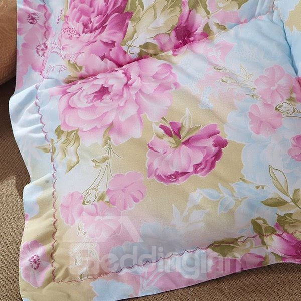 Beautiful Pink Peony Print Super Comfy Down Quilt
