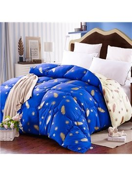 Feather Stars Print Royal Blue Down Winter Quilt