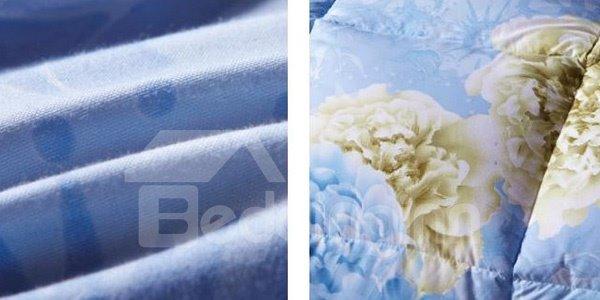 Elegant Flowers Print Blue Down Quilt for Winter