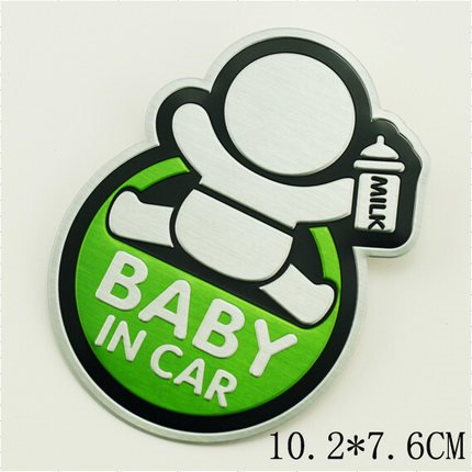 Creative Cartoon Printed Metal Baby In Car Sign Car Sticker