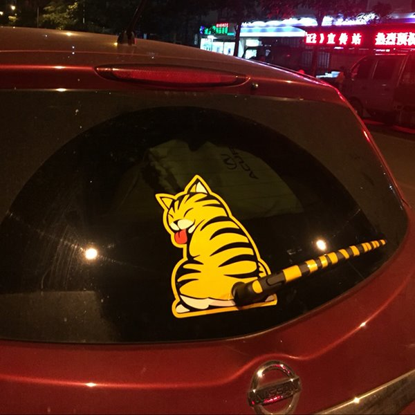 62 cute and creative kitten shaped windscreen wiper car sticker