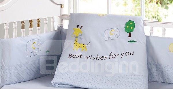 Lovely Giraffe and Elephant Pattern 9-Piece Crib bedding Set