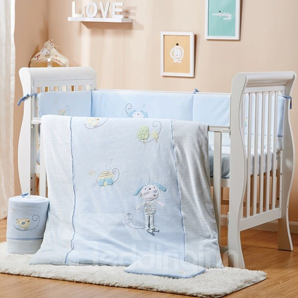 High Quality Baby Blue Rabbit Pattern Crib bedding Set