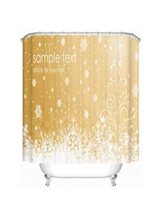 White Snowflake Print 3D Shower Curtain