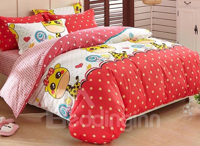 Giraffe and Polka Dot Pattern Kids 3-Piece Duvet Cover Set