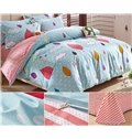 Colorful Leaves and Clouds Polka Dot Pattern 3-Piece Kids Duvet Cover Set