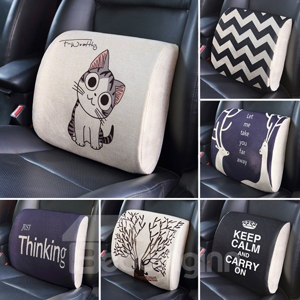 Concise Geometric Stripe Patterned Car Lumbar Support Pillow