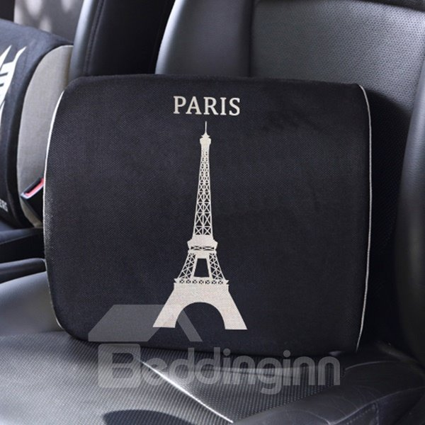 Elegant Dual Colored Letter Paris Patterned Car Pillow