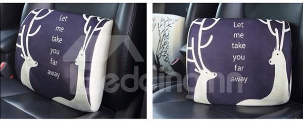 Meaningful Dual Deers Patterned Linen Car Pillow