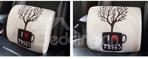 Concise Environmenal Friendly Patterned Linen Car Pillow