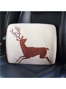 Creative Abstract Reindeer Patterned Linen Car Pillow