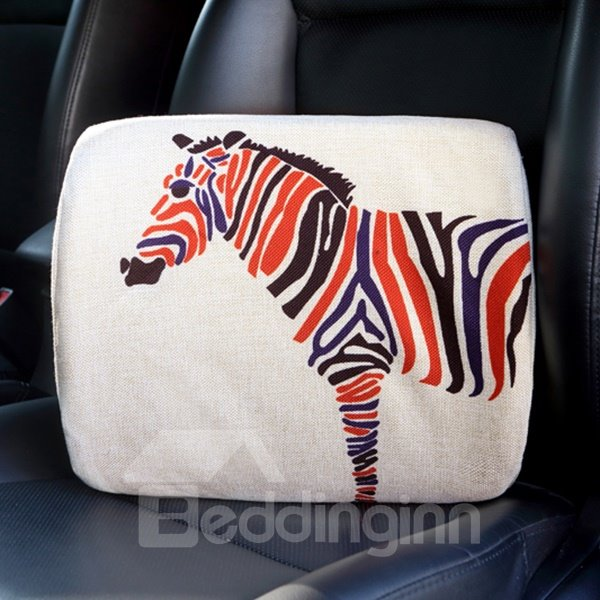 Concise Multiple Colored Zebra Patterned Car Pillow