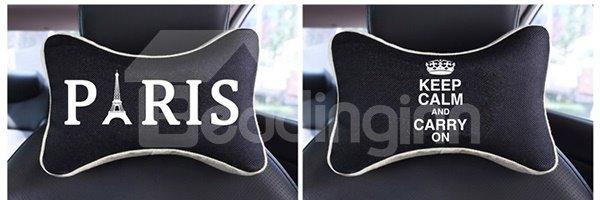 Elegant Dual Colored Letter Paris Patterned Car Neckrest Pillow