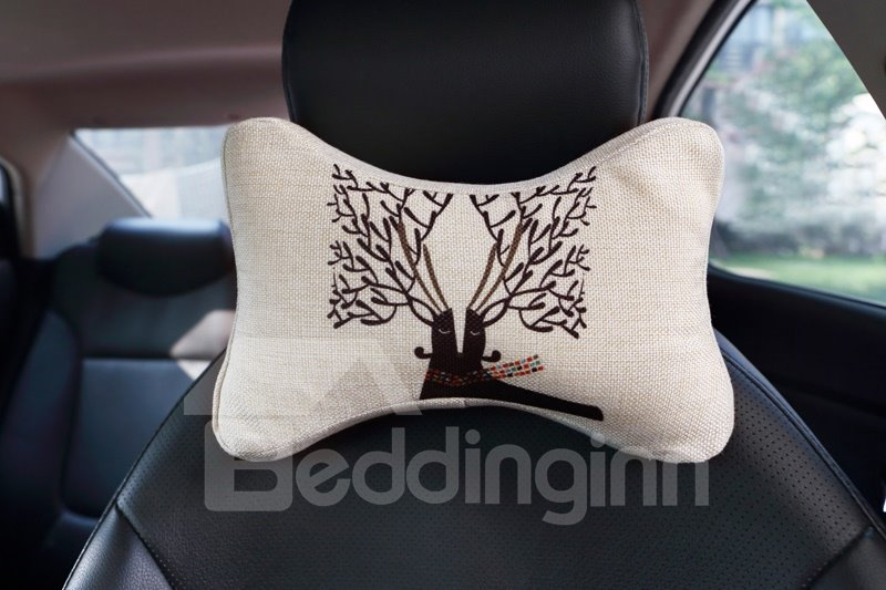 Beautiful Abstract Reindeer Patterned Car Neckrest Pillow