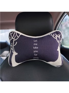 Meaningful Dual Deers Patterned Car Neckrest Pillow
