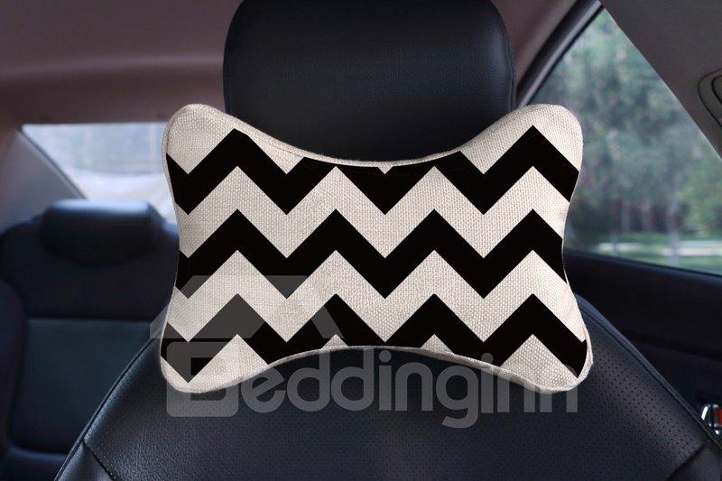 Concise Geometric Stripe Patterned Car Neckrest Pillow