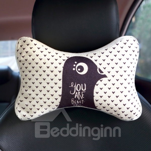 Concise Beautiful Bird Patterned Car Neckrest Pillow