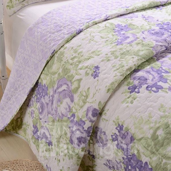 Graceful Light Purple Flowers Print 3-Piece Cotton Bed in a Bag