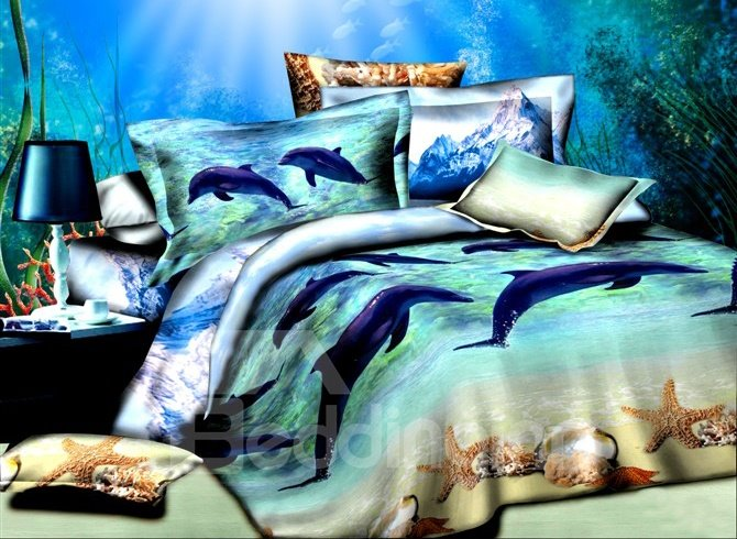 Adorable Dolphins Starfish Print Cotton 4-Piece Duvet Cover Sets