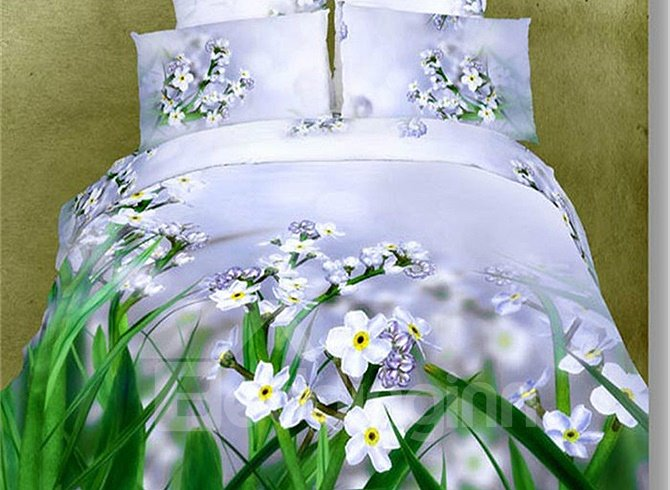 Pastoral Small Flowers Design Light Purple 4-Piece Duvet Cover Sets
