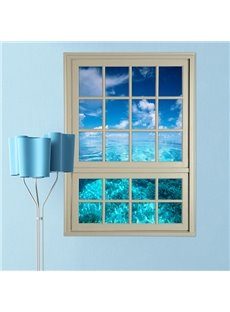 Amazing Blue Sea and Sky Window View Removable 3D Wall Stickers