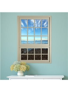 Coastal Beach and Sea Window View Removable 3D Wall Stickers