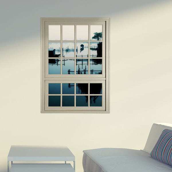 Quiet Lake in Dusk Window View Removable 3D Wall Stickers
