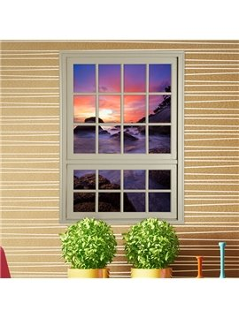 Amazing Sunset in Mountains Window View Removable 3D Wall Stickers