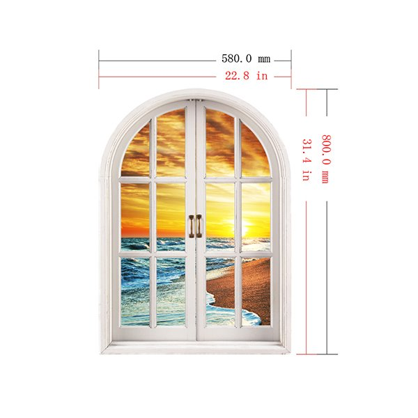 Seawaves on the Beach Window View Removable 3D Wall Stickers