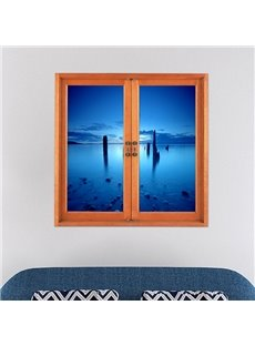 Blue Sea and Sky Stretch to the Horizon Window View Removable 3D Wall Stickers