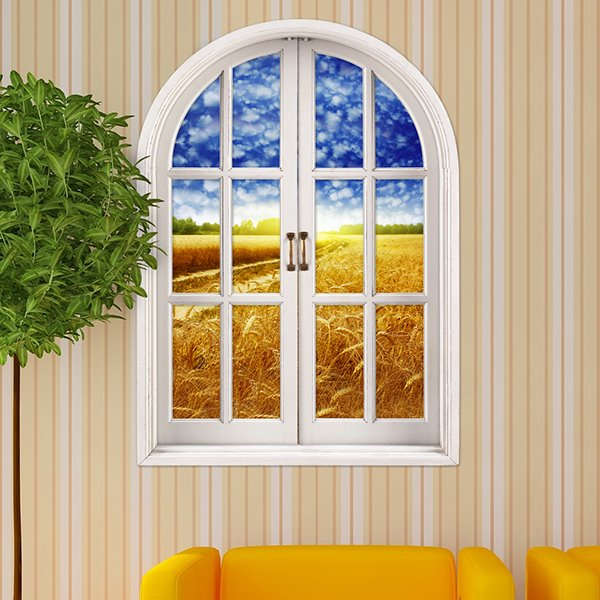 Ripe Golden Wheat Fields Window View Removable 3D Wall Stickers