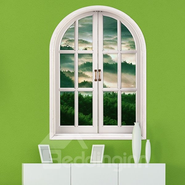 Rolling Mountains Covered in Green Trees Window View Removable 3D Wall Stickers