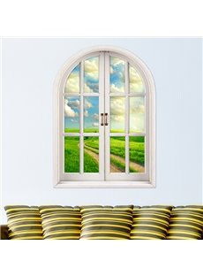 Green Grassland Under White Cloud Window View Removable 3D Wall Stickers