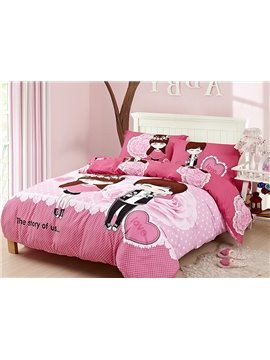 Cartoon Lovers Romantic Roses Print Pink 4-Piece Cotton Duvet Cover Sets