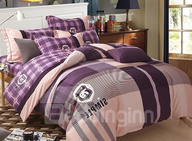 Modern Voguish Stripe Plaid 4-Piece Cotton Duvet Cover Sets