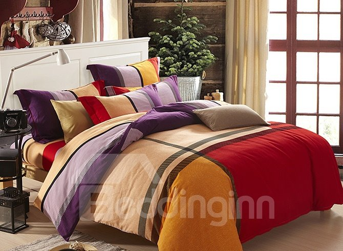 Concise Stripe Design Super Cozy Cotton 4-Piece Duvet Cover Sets