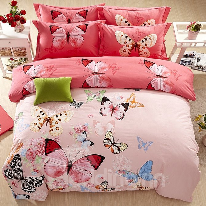 Flying Butterflies Flowers Printed Cotton Pink 4-Piece Bedding Sets/Duvet Cover