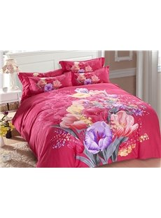 Fancy Flowers Print Hidden Zipper Design Rosy 4-Piece Duvet Cover Sets