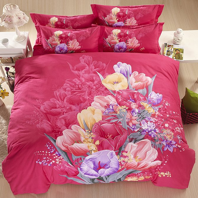 Fancy Flowers Printed Rosy Cotton 4-Piece Bedding Sets/Duvet Cover