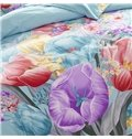 Splendid Colorful Flowers Print Blue Cotton 4-Piece Duvet Cover Sets