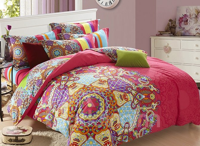 Unique Ethnic Customs Design 4-Piece Cotton Duvet Cover Sets