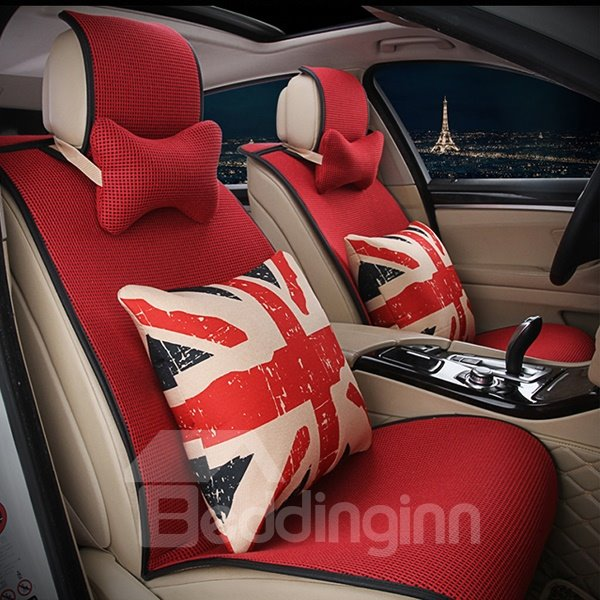 Eye Catching Single Colored with Cushion Car Seat Cover Set