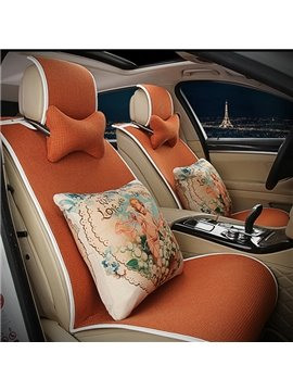 Elegant Single Colored with Cozy Cushions Car Seat Cover Set