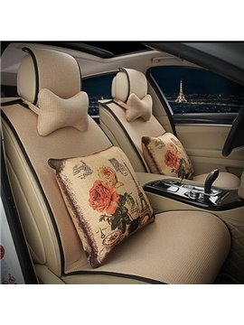 Concise Designed with Floral Cushions Car Seat Cover Set