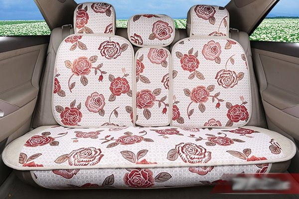 Attractive And Beautiful Red Floral Patterned Universal Car Seat Cover