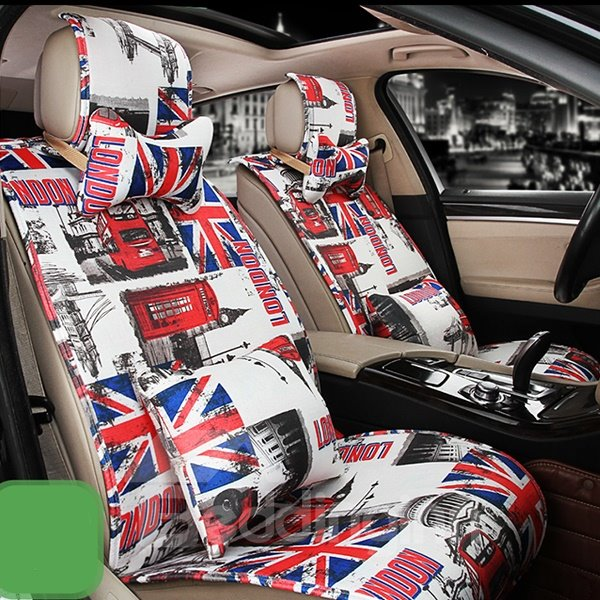Trendy English Style Fashion Design Universal Fit Car Seat Covers