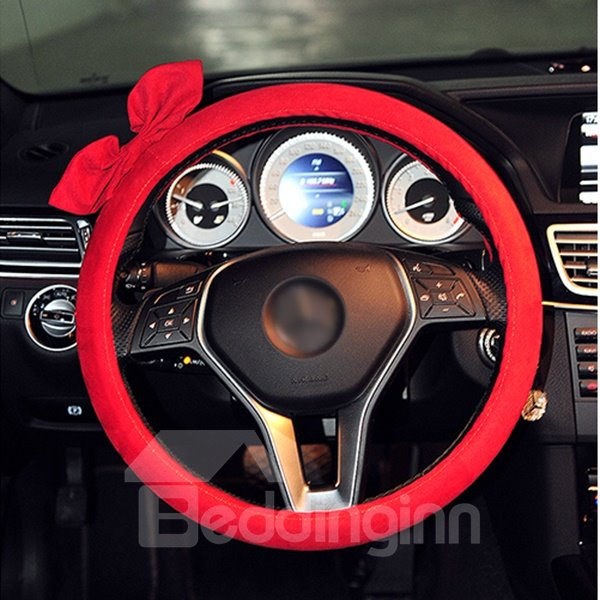 Beautiful Pure Colored Bowknot Patterned Car Steering Wheel Cover