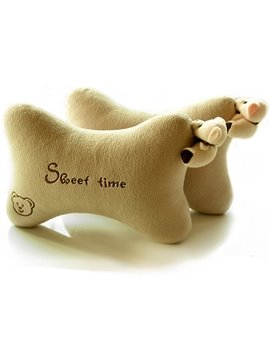 Sweet Bear Figured Pure Color Neckrest Pillow